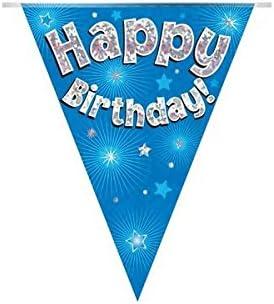 Banderines holográficos de papel de aluminio para fiesta de cumpleaños (3,9 m, 11 banderas), color azul: Amazon.es: Juguetes y juegos