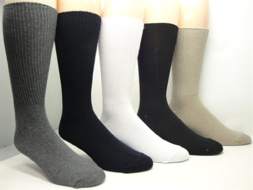 UPC 069492210502, Vagden Diabetic Men's Casual Cotton Non-elastic Socks (2 Pairs) (Taupe) 8-12