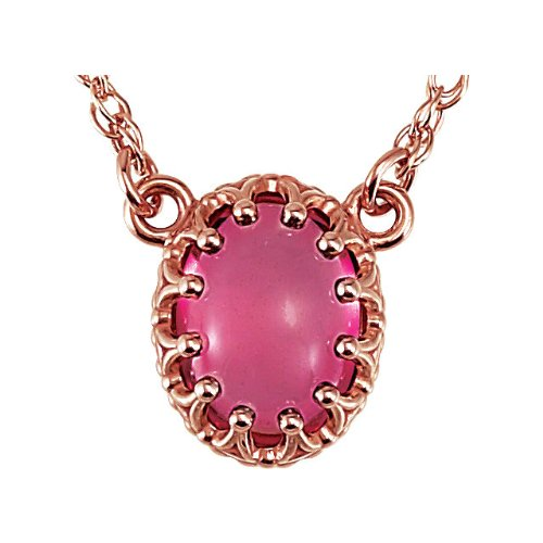 14k Rose Gold 1.65 Ct Pink Tourmaline Oval Cabachon Necklace, 18'' by The Men's Jewelry Store