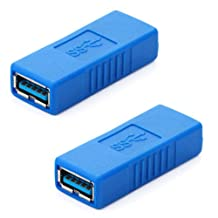 HDE USB 3.0 Type-A Female to Female Super Speed Coupler Connector Extension Cable Adapter - 2 Pack