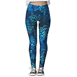 Watercolor Blue Sea Turtle Women S Tummy Control Sports Running Yoga Workout Leggings Pants L