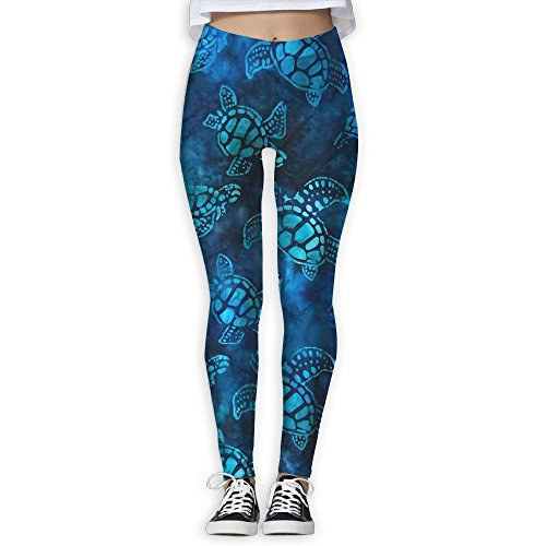 Leggings Turtle - Watercolor Blue Sea Turtle Women's Tummy Control Sports Running Yoga Workout Leggings Pants XL