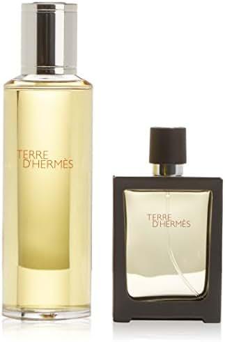 Hermes Terre D'hermes Pure Perfume 2 Pc Set For Men (4.2 Parfum Refill + 1.0 Parfum Refillable Spr)