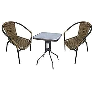 Juego de muebles de jardín Bistro cama de 3piezas Bistro Mesa Cristal/Metal 60x 60cm h70cm Antracita + 2ratán Sillas apilables
