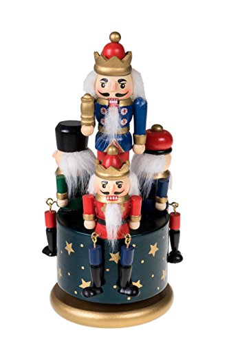 (Traditional Wooden Nutcracker Wind Up Music Box | Blue, Red, Gold, and Green Kings and Soldiers | Festive Christmas Decor | 8