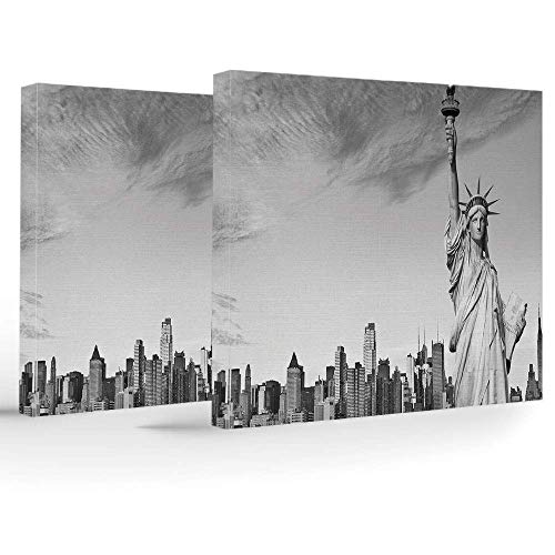 ZOMOY iPrint Canvas Art Prints,Canvas Art Frame,Black White Decorations,Wall Decorations Home Living Room Bedroom Bathroom Lake House,Statue Liberty York City American Monument Decorative - Lake House Liberty
