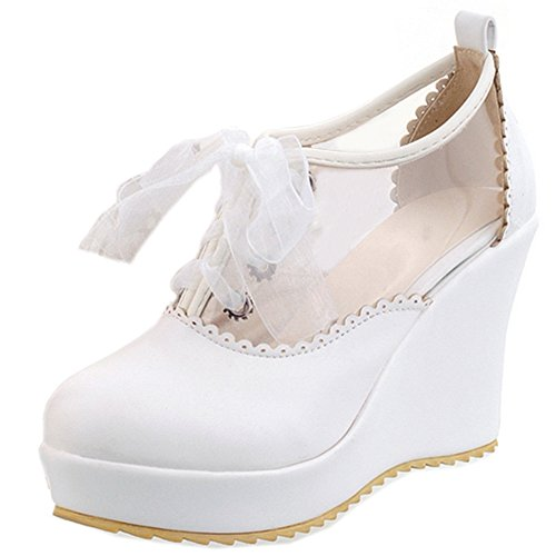 Heel Sweet Summer Sandals Shoes White Lace Court Up Pumps Toe Women Closed Wedge COOLCEPT 8pwFqq