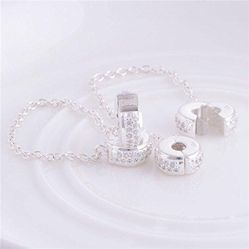 Breloque en argent sterling 925 et cristaux brillants avec fermoir et cha/îne de s/écurit/é Pour les bracelets /à breloques europ/éens