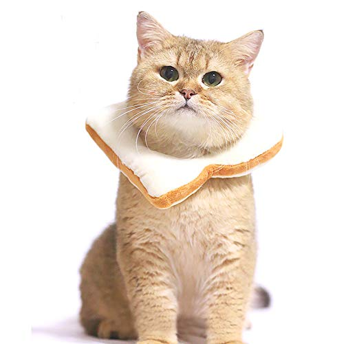 Cone Head Halloween (Adnikia Creative Soft Bread Slice Collar for Cat, Toast Bread-Shaped Cat Headdress, Pet Cat Cosplay Makeup Cap, Pet Cartoon Costume, Cat Dressing Up Props, Toast Shape Pet)