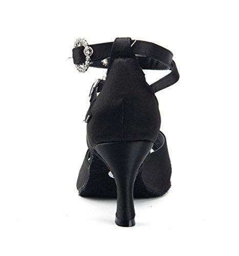 Miyoopark - Zapatillas de danza para mujer Black-7.5cm Heel