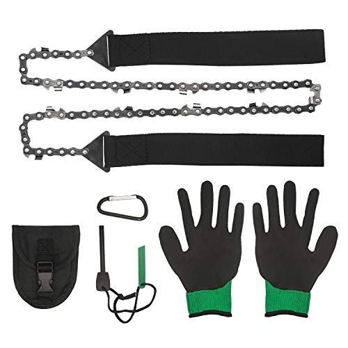 Survival Pocket Chainsaw 36 inch Folding Hand Saw with Fire Starter and Gloves for Camping Hiking Hunting Emergency Outdoor Survival Gear 3X Faster for Cutting
