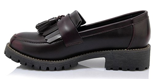 PPXID Femme Basse Western Taille Plat Grande Rond Chaussures Bout Frange Petit Rouge ddYarw