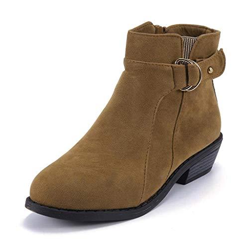 Cinnamou Tacon Boots Marrón Suede Pu Hebilla Medio Botas Botines Invierno Zapatos Tobillo Ankle Ancho Tacón Mujer Casual De TTzAqrZ