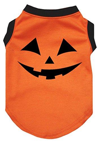 Petitebella Halloween Pumpkin Face Orange Shirt Puppy Dog Clothes (Small) ()