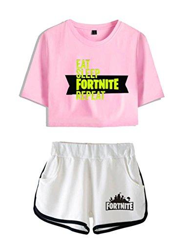 per e bianco3 ZIGJOY Abbigliamento T Shorts e Completo Shirt Rosa Fortnite Donne Ragazze Top Crop qzwqPZA
