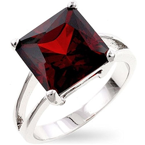 [Garnet Cubic Zirconia Gypsy Silver Colored Engagement Ring, Size 6] (Gypsy Costume Couple)