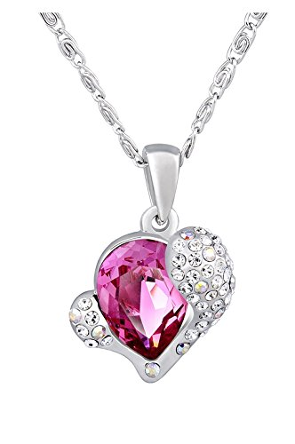 NEVI Heart Fashion Swarovski Crystals Czech Crystal Rhodium Plated Matinee Pendant Necklace Jewellery for Women & Girls at amazon