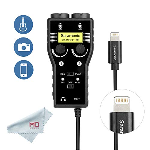 Saramonic SmartRig+ Di 2-Channel XLR & 6.3mm Guitar Audio Interface Microphone with Apple Lightning Connector for iPhone 7 8 X, iPad, iPod, iOS Smartphone & ()
