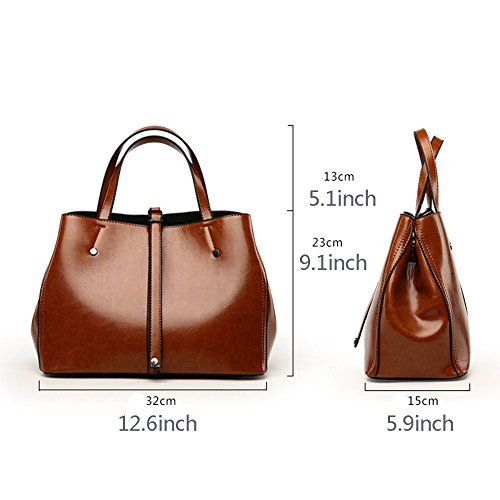 Leather Satchel Women Crossbody Top Fashion Large Bag Handle Handbag Lady Black Tote Shoulder Oil Bags Wax Pu qvICxvrw