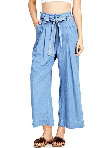 Meilidress Women's High Waist Wide Leg Jeans Ankle Length Palazzo Denim Culottes with Tie and Pockets