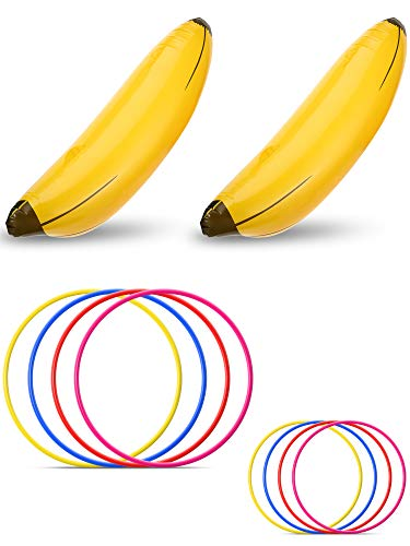 Norme 10 Pieces Bachelorette Party Game Inflatable Banana Ring Toss Game Kit, Include 2 Pieces Banana with 8 Pieces Plastic Toss Rings for Tossing Games Party Decorations]()