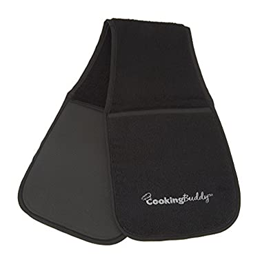 Campanelli's Cooking Buddy - Professional Grade All-In-One Pot Holder, Hand Towel, Lid Grip, Tool Caddy, and Trivet. Heat Resistant up to 500ºF! As Seen On QVC. (Black)