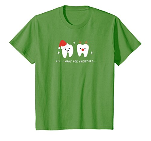 Kids All I Want For Christmas Is My Two Front Teeth T-Shirt 6 Grass