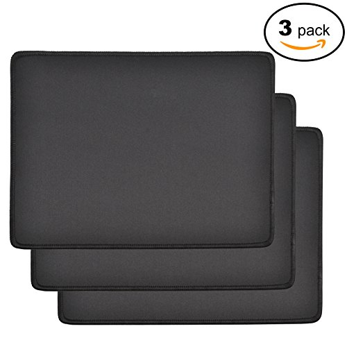 MROCO Pack of 3 Standard 8.5x11 Inch Waterproof Computer Mouse Pads with Non-Slip Rubber Base, Rectangle Gaming Mousepads with Stitched Edges for VicTsing,Pictek,Logitech,Razer Mouse, 3mm Thick, Black