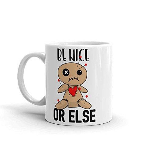 Be Nice Mug // Funny Halloween Coffee Mugs // Funny Introvert Mug Gifts // Funny Gag Gifts for Women // Funny Halloween Voodoo Doll Mugs // 11oz 15oz