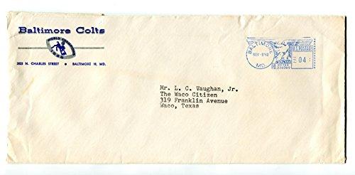 World Champion 1960 NFL Baltimore Colts Football Media Press ENVELOPE Date Stamp