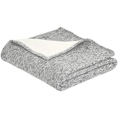 Heather Blanket (AmazonBasics Reversible Heather Knitted & Sherpa Throw Blanket - 50 x 60 Inch, Grey)