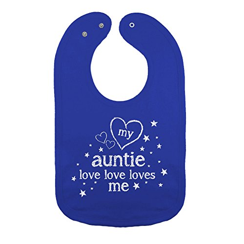 Mashed Clothing Unisex-Baby My Auntie Love Love Loves Me Cotton Baby Bib (Royal)