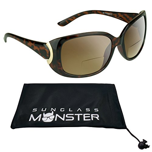 Trendy Bifocal Sunglasses 1.50 for Women with Sexy Tortoise Shell Brown Frames and Gold Chrome Accent. Free Microfiber Cleaning Case - Large Glasses Shell Tortoise