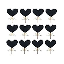 Pack of 12 Mini Heart-shaped Blackboards for Wedding Party Decor Food Table Number Sign, Reusable Wooden Chalkboard Message Board Signs