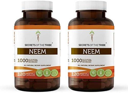 Neem 120 Capsules 2 pcs. , 1000 mg, Organic Neem Azadirachta Indica Dried Leaf 2×120 Capsules