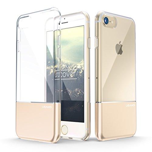 iPhone 7 Plus Coque, Usams Housse PC Polycarbonate Dur Transparent [Ultra Mince] avec Socle Or Étui Apple iPhone 7 Plus Case Téléphone