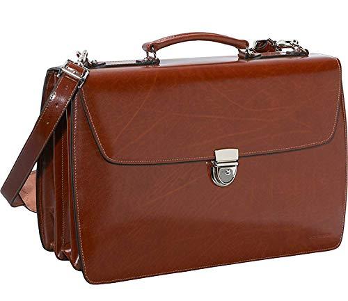 Jack Georges Elements Triple Gusset Flap Leather Briefcase W/open Back Pocket - Cognac ()