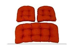 Al aire libre mimbre sillas cojines W sólido Tejido–Juego de 3(azul)