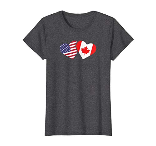 Canada USA Flag T Shirt Heart Canadian Americans Love Cute