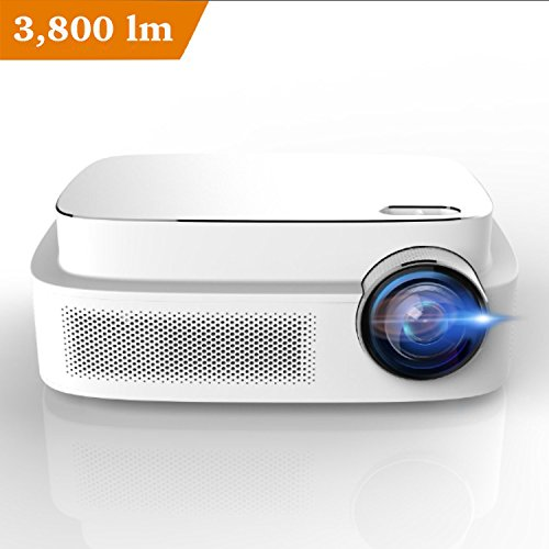 Erisan Q7 HD LED Video Projector, 450 ANSI lumens, 1280x800 Resolution, Support 1080P Full-HD, Hifi Speaker, Quieter Fan, Games, Multimedia Home Theater Party Projector