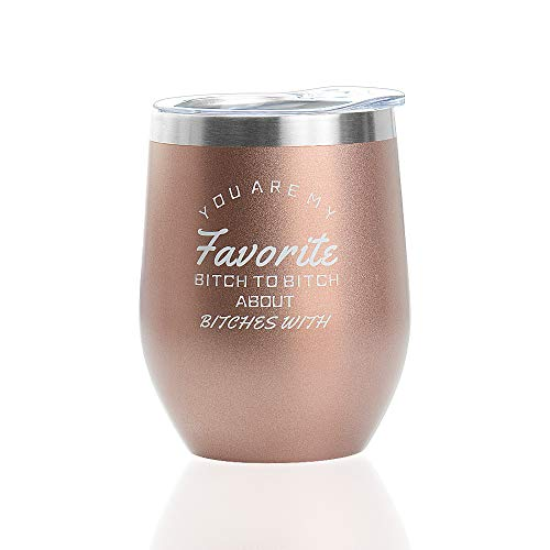 - 12 oz Wine Tumbler with Lid,Double Wall Vacuum Insulated Stemless Wine Glasses,Stainless Steel Wine Cup for Wine,Coffee,Drinks,Champagne,Cocktails (Rose Gold)