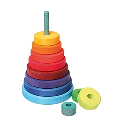 Grimm's Large Wooden Conical Stacking Tower, 11-Piece Rainbow Colored Stacker, Made in Germany: Baby