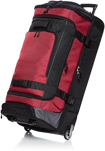AmazonBasics Ripstop Rolling Travel Luggage Duffle Bag With Wheels - 35 Inch, Red (Rolling Travel Luggage)