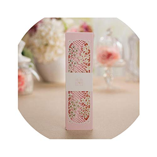 qiao-qiao-store 50pcs Pink Scroll Cut Box Packed Wedding Invitation Cards with Butterfly Knot Customizable Wedding Decoration Supplies-in Cards & Invitations from Home & Garden,Pink from qiao-qiao-store