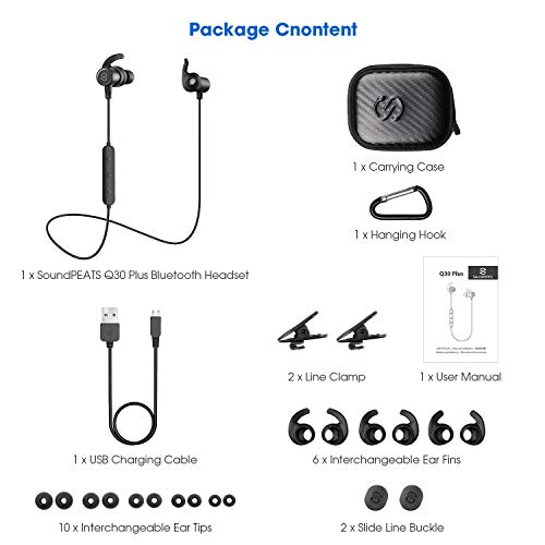 Large Product Image of SoundPEATS Magnetic Wireless Earbuds Bluetooth Headphones Sport in-Ear IPX 6 Sweatproof Earphones with Mic (Super Sound Quality Bluetooth 4.1, aptx, 8 Hours Play Time, Secure Fit Design)