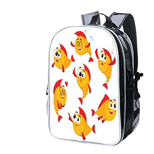 (High-end custom Laptop Backpack-Leisure Travel Backpack Golden, yellow fish characters with human face showing different emotions Water Resistant-Anti Theft - Durable -Ultralight- Classic-School-Black)