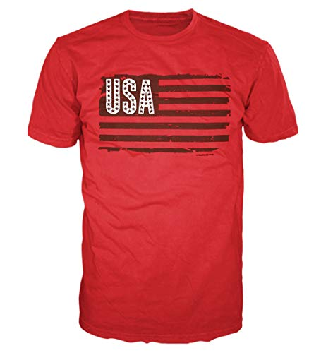 5 Star USA America Men's Graphic T-Shirt - American Flag, Patriotic, Vintage, Military, Americana Collection, Red/Usa Stars & Stripes Flag, XX-Large