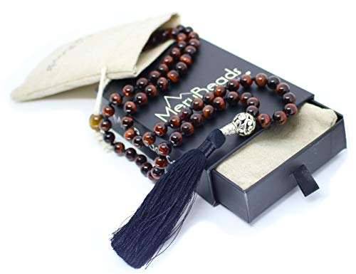 - Premium Exotic Tiger Eye RED Mala Beads Necklace - Japa Mala - Meditation Necklace - Tigers Eye Necklace - Meditation Necklace - Tassel Necklace - 108 Mala Beads Meditation - Mala Necklace