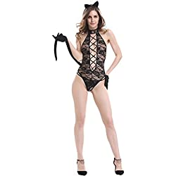 Iooho Women Sexy Lingerie Cat Girl Cosplay Uniform Crotchless Bodysuit (M)