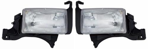 Go-Parts Pair/Set - Compatible 1994-2001 Dodge Ram 1500 Front Headlights Headlamps Assemblies Front Housing/Lens / Cover - Left & Right (Driver & Passenger) Side - (Laramie + ST + WS) Replacement for